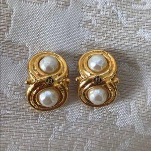 Vintage Fendi Pearl Brass Gold Stud Earrings